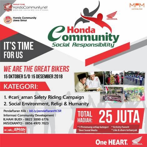 Honda Community Social Responsibility 2018…Program kece dari MPM Jatim kepada komunitas Motor Honda